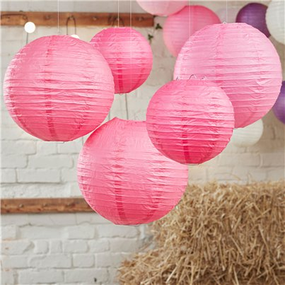 Boho Wedding Hot Pink Paper Lanterns - 30cm & 20.5cm