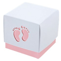 Pink Baby Footprint Box - 6cm square