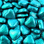 Turquoise Foil Chocolate Hearts - Bulk Pack