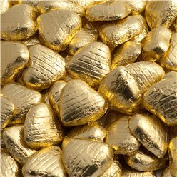 Gold Foil Chocolate Hearts - 100pk