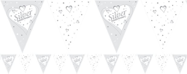 Silver Anniversary Flag Bunting 12ft
