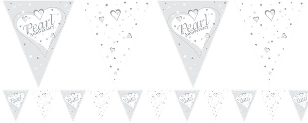 Pearl Anniversary Flag Bunting 12ft