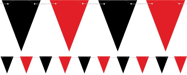 Red and Black Flag Bunting - 1.3m
