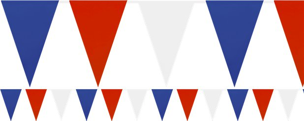 Red, White & Blue Solid Colour Plastic Bunting - 7m