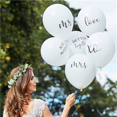 "Botanical Wedding White Balloons - 12"" Latex"