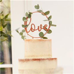 Botanical Wedding Copper Love Cake Topper - 18cm