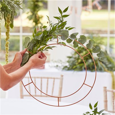 Botanical Wedding Copper Hanging Chandelier Hoops - 40cm