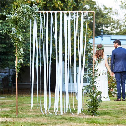 Botanical Wedding White Ribbon Hanging Backdrop