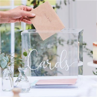 Botanical Wedding Clear Acrylic Card Box - 25cm