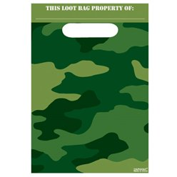 Camouflage Party Bags - Plastic Loot Bags