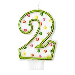 2nd Birthday Candle - Polka Dot 7.6cm