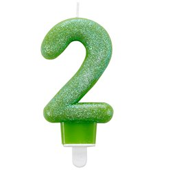 2nd Birthday Candle - Green Glitter 7.5cm