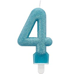 4th Birthday Candle - Turquoise Glitter 7.5cm