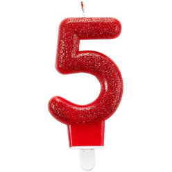 5th Birthday Candle - Red Glitter 7.5cm