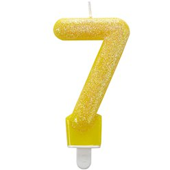 7th Birthday Candle - Yellow Glitter 7.5cm