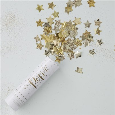 Metallic Gold Star Confetti Cannon - 15cm