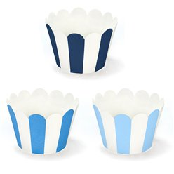 Blue Stripe Cupcake Wrappers - 7.5cm