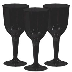 Black Plastic Wine Glasses - 295ml