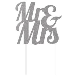 Mr & Mrs Silver Glitter Cake Topper - 24cm