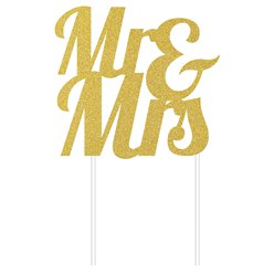 Mr & Mrs Gold Glitter Cake Topper - 24cm