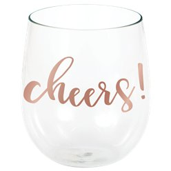 Cheers Stemless Plastic Wine Glass - 398ml