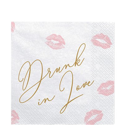Drunk In Love Lips Paper Napkins - 33cm