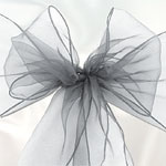 Silver Organza Chair Sashes - 3m