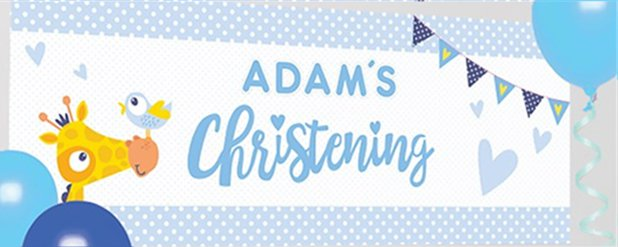 Christening Day Blue Personalised Banner - 1.2m