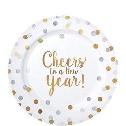 'Cheers to a New Year' Premium Plastic Plates - 19cm