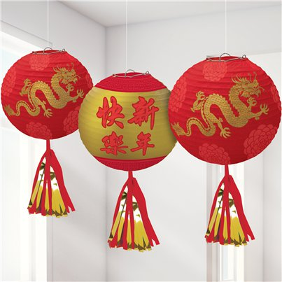Chinese New Year Deluxe Hanging Lanterns with Tassels- 43cm