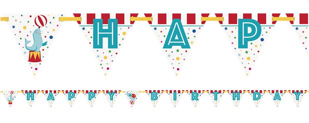 Circus Carnival Happy Birthday Banner