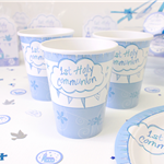 First Holy Communion Blue Cups - 266ml Paper Party Cups