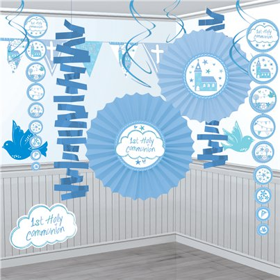 First Holy Communion Blue Decoration Kit - 18pk