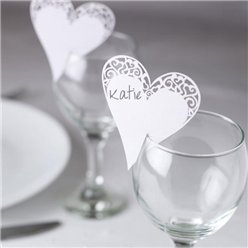 Contemporary Hearts Wedding Place Cards for Glasses - White
