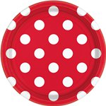 Red Polka Dot Plates - 23cm Paper