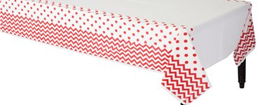 Apple Red Polka Dot & Chevron Plastic Tablecover - 1.4m x 2.6m