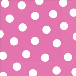 Hot Pink Polka Dot Napkins - 33cm Paper