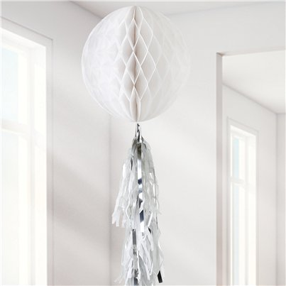 White Honeycomb Ball and Tassel Decoration - 30cm