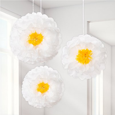 Daisy Flower Pom Pom Decorations - 41cm
