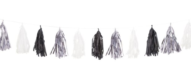 Black, Silver & White Tassel Garland Decoration - 2.7m