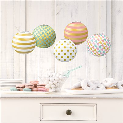 Pastel & Metallic Mini Paper Lanterns