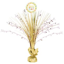 Confetti Fun Gold Spray Table Centrepiece - 46cm