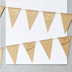 Just Married Kraft & Gold Bunting - 4m