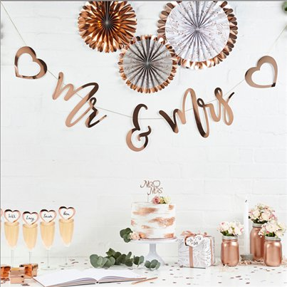 Mr & Mrs Rose Gold Banner - 2m