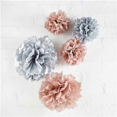 Rose Gold & Grey Paper Pom Pom Decorations