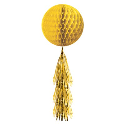 Yellow Honeycomb Ball with Tassel Tail