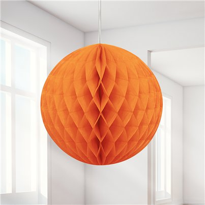 Orange Honeycomb Ball Decoration - 20cm