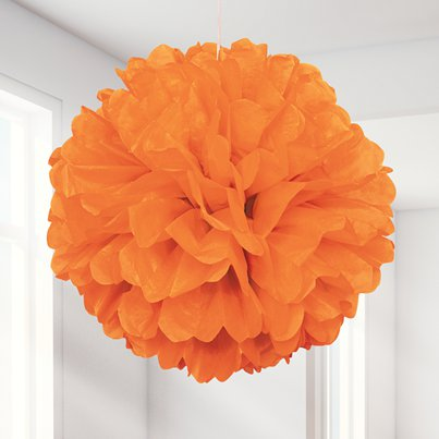 Orange Pom Pom Decoration - 41cm
