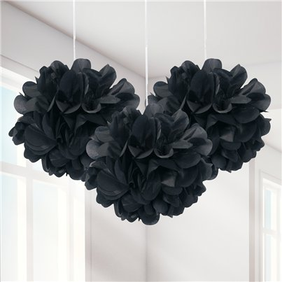 Black Pom Pom Decorations - 23cm
