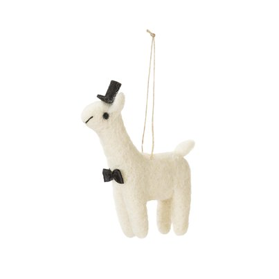 Mr Llama In Love Mini Felt Decoration